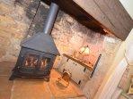 Inglenook fireplace with gas effect woodburner