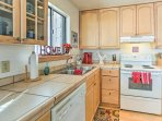 The kitchen comes fully equipped to whip up all your favorite recipes.