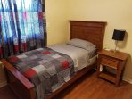 Fully furnished smaller room with one twin bed, perfect for the lone traveler.