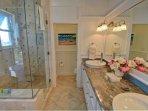 Toilet Room, Shower, Double Sink, Bathtub
