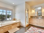Spacious Master bathroom with jetted tub and walk-in shower