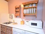 Compact but well-equipped kitchen area