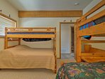 Kids love the bunk room with 2 twin-over-full bunk beds.