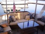 You won't want to leave the aft deck on a beautiful day! Enjoy breakfast or cold beverages!