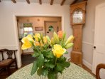 The beautiful antiques and beams add the character of the cottage