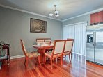 Gather around the 6-person dining table for a home-cooked meal.