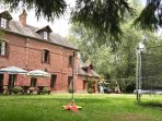 Enjoy swing ball, badminton and the trampoline while others rest under the parasols