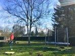 Trampoline & swing ball fun