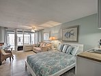 A queen bed and sleeper sofa provide sleep up to 4 guests.