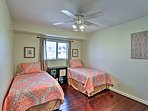 The second bedroom, complete with 2 twin beds, is ideal for kids.