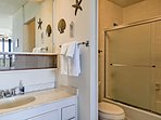 Clean up in the shower/tub combo in the en-suite master bath.