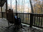 Thanksgiving morning on the front deck looking out over the valley.