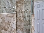 walk in GLASS/Tile shower with rain head coming out Ceiling