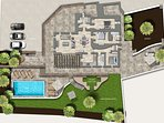 Detailed floorplan of internal/external layout showcasing the space and facilities on offer.