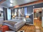 bedroom 1 - king bed, TV