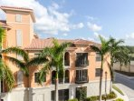 Enjoy the bright blue Florida sky and the architecture of the neighboring Residences from the patio.