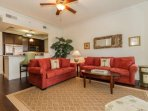 Comfortable, well appointed seating area with plenty of room for entertaining.