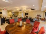 The community room is available for gatherings, and offers various organized events to the guests.