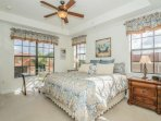 Sunlit filled master bedroom, with luxurious king bed and room darkening shades, for a perfect night's sleep.