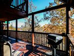 Balcony with Furniture - Enjoy the fresh mountain air and a cup of morning coffee while visiting Hummingbird Lodge or...