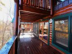Main Level Balcony with Grill and Porch Furniture - Relax your cares away while overlooking the Smokies!