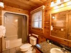 Main Level Full Bathroom with Tub/ Shower - Hairdryer and Towels Provided