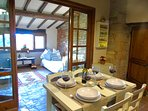 Kitchen and dining area walks out into the loggia for fabulous tree top view