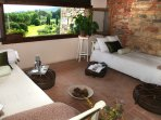 The summer room (loggia) with beautiful  views over the countryside