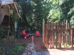 Rustic porch with old growth redwood recycled palings, from a seed tree orchard in the forests!