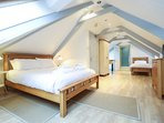 Attic room bedroom, King bed, plus single bed and en-suite shower, toilet and basin.