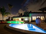 LEDs light up the hot tub and pool at night