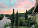 Another beautiful summer sunset over the Dordogne, also shows the front of house & lawn area.