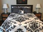 Master bedroom has queen bed