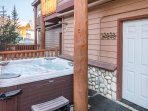 Private hot tub off of third bedroom on the lower level