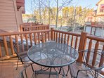 Front deck with patio table and chairs