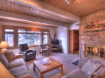 Take a seat in one of the comfortable sofas and enjoy time with family by the fireplace.