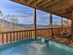 Up to 16 lucky guests will enjoy this home's wraparound deck with Smoky Mountain Views.