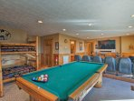 Reveal your inner pool shark in the downstairs media room at the 8-foot billiards table.