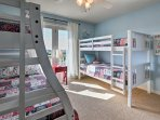 'Kid Haven' has 1 twin-over-twin bunk bed and 1 twin-over-full bunk bed.