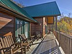 Take in the crisp alpine air from the furnished deck after hiking in Smoky Mountain National Park.