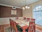 Treat guests to a five-course dinner around the lavish 8-person dining table.