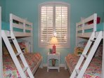 Guest Bedroom with two sets of Bunk Beds.  Top is a Twin and the bottom is a full.