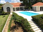 Aerial side view of villa and pool deck!