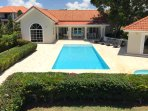 Front View of 40 foot fully tiled pool