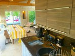 Gites at Sibemol's Pool-House Kitchenette summer dining-room +Barbecue, Planchas for all our guests