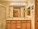 This home boasts 3 spacious bathrooms.