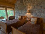 The substantial loft at Big Bear has two twin beds.  #roomwithaview