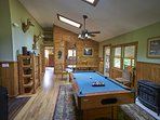 Another view of the gameroom at Ashemount in Sugar Grove, near Banner Elk, NC. #pooltable