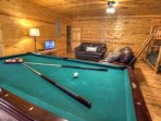 Pool Table in Lower Level with Bunk Beds