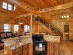 Open Kitchen w Luxury Gold Granite